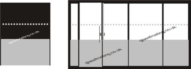 Solid lower band with DDA dots at eye level & goal post to door